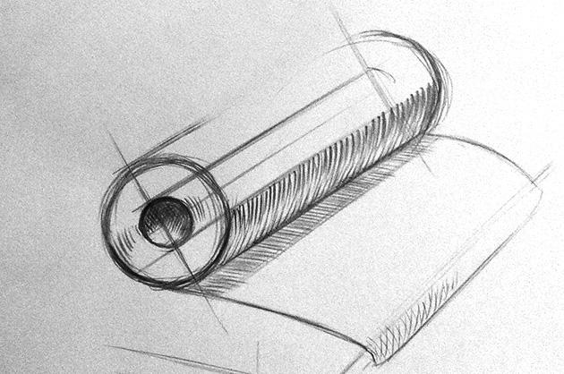 Illustration POS – Vorskizze Stoffballen
