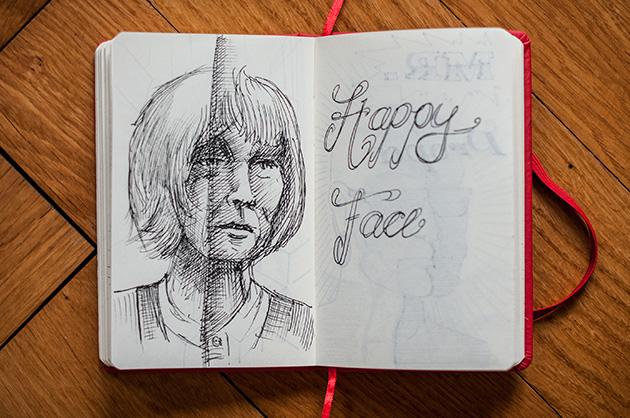 Skizzenbuch – Portrait von Friederike Mayröcker