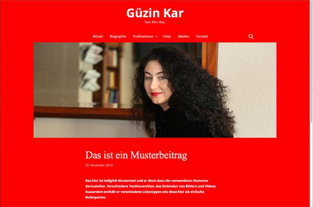 Webdesign für Güzin Kar – finaler Entwurf