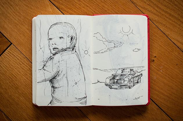 Skizzen von einem Baby und von einem Auto am Meer