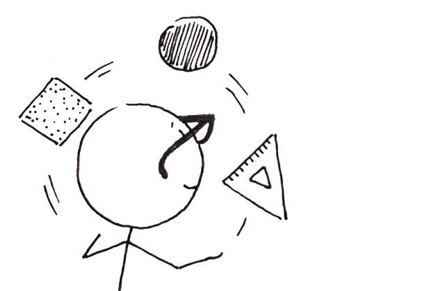 Entwurfsprozess für ein Logo; Strichmänchen jongliert mit den drei Grundformen Quadrat, Kreis und Dreieck