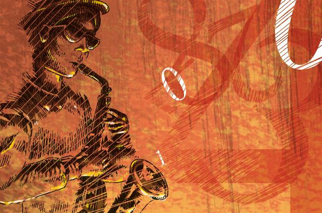 ganze Illustration; Mann am Saxophon spielen