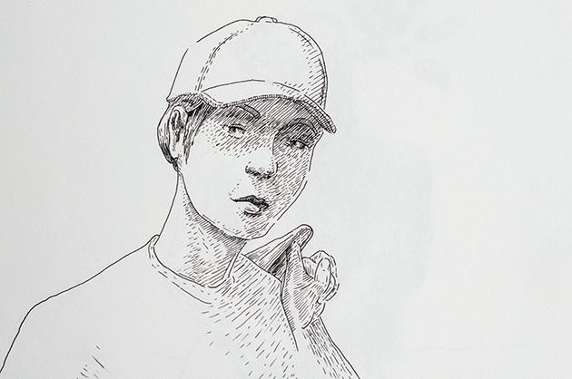 Illustration mit Tuschezeichner – Frau mit Hut, Totale