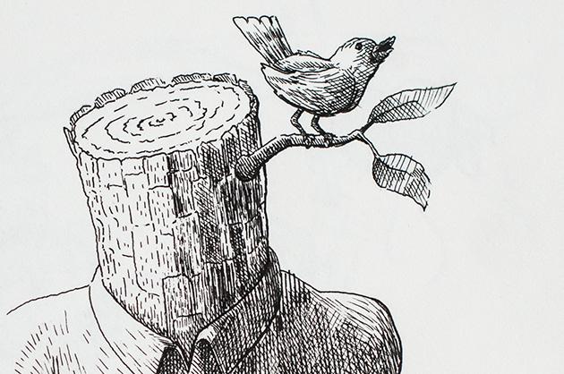 Illustration mit Tuschezeichner – Holzmann mit Vogel am Schnitzen, Detail Vogel