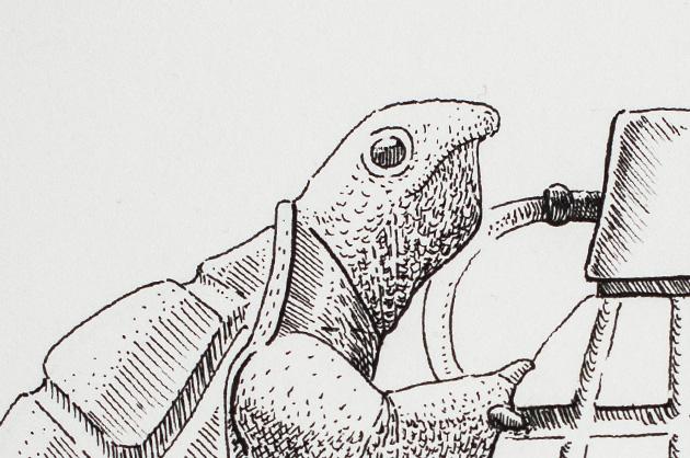 Illustration mit Tuschezeichner – Schildkröte mit Handgranate, Detail Kopf