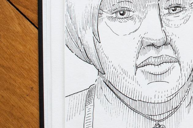 Detail der Skizze einer Frau mit einem hundeähnlichen Wesen – Ausschnitt von Hals und Gesicht