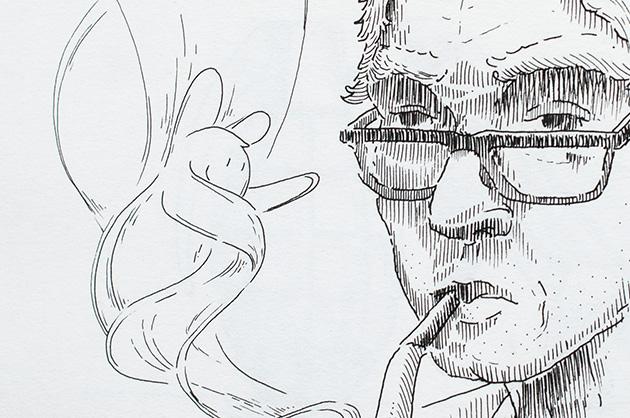 Detail der Tusche-Skizze eines Pfeife rauchenden Mannes. Im Rauch winkt und lacht eine Figur – Ausschnitt des Männergesichts mit der Fantasie-Figur