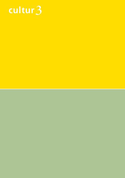 cultur3 – Entwurf zweifarbiger Flyer mit Farbtönen von Le Corbusier in Gelb und Grün