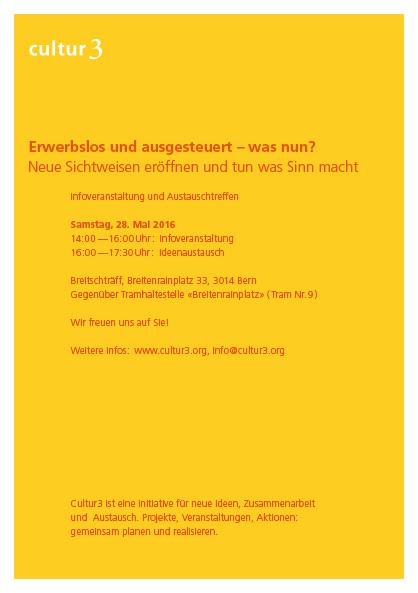 cultur3 – finaler Flyer, einfarbig Gelb mit rotem Text gesetzt mit der Frutiger