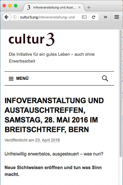 cultur3 – Beitrags-Seite der Website in der Mobile-Version