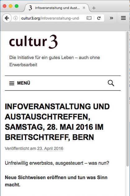 cultur3 – Beitrags-Seite der Website in der Mobile-Version