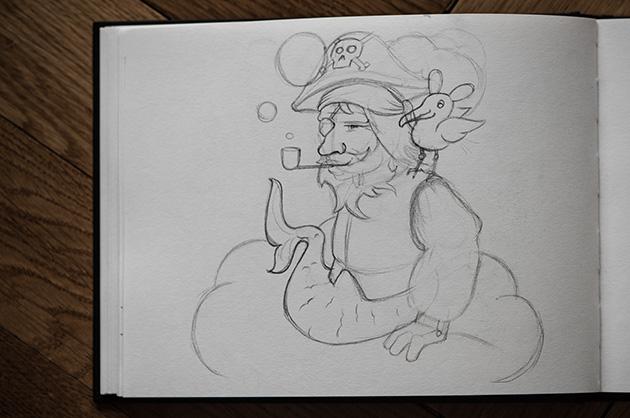 Pirat-Skizzen – Bleistift-Skizze von einem Pirat in meinem Skizzenbuch