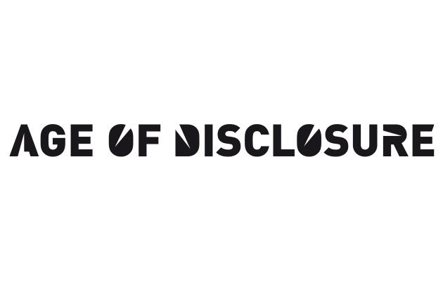 Age of Disclosure Logo-Entwurf mit einem dekonstruierten Schriftzug