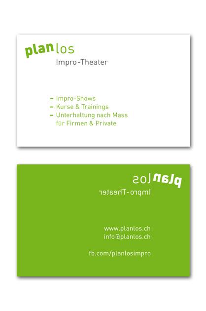 Visitenkarte für die Impro-Theater-Gruppe planlos