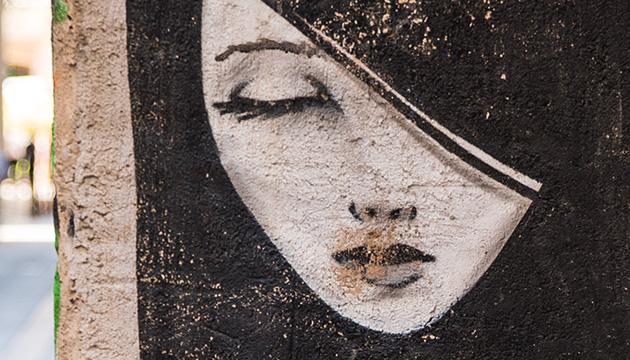 Valencia – Beitragsbild, Ausschnitt von Street-Art, Frauengesicht
