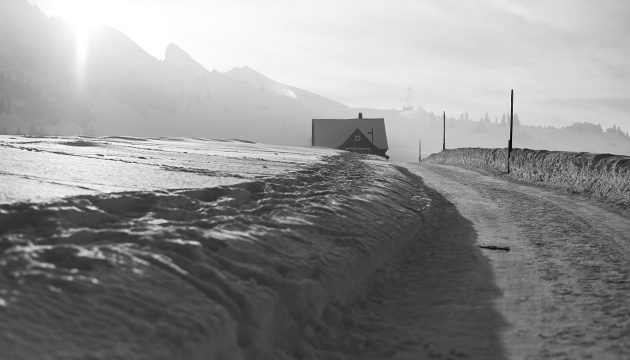Fotografie – Winter in Wildhaus, Beitragsbild einer Strasse, die zu einem Haus führt