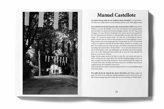Layoutbeispiel aus dem Murifeldbuch – Doppelseite mit einem Portrait. Bild aus weiter Distanz.