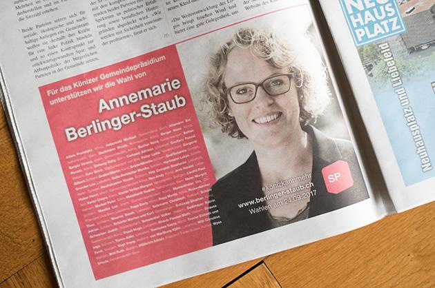 Gedrucktes Inserat von Annemarie Berlinger-Staub in der Könizer Zeitung vom Juli 2017