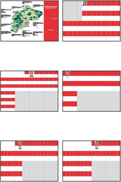 Wahlprospekt Layoutskizzen mit verschiedenen Lösungen für die Seite mit den Kandidierenden