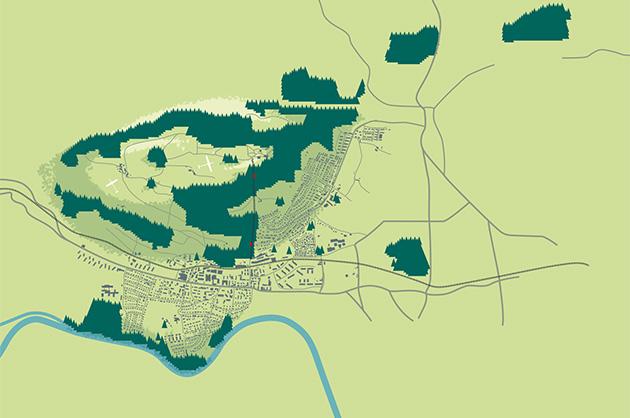Ortsplan Köniz, finaler Ansatz und Vorlage für die umgesetzte Illustration