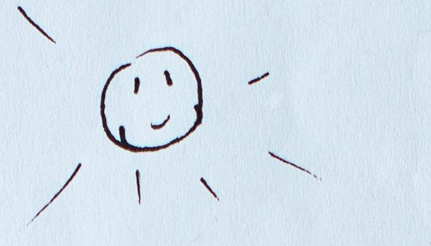 Private Illustration für eine KiTa-Anmeldung. Beitragsbild, Ausschnitt mit einer lachenden Sonne