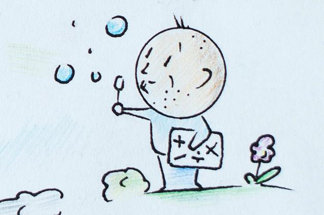 Illustration KiTa. Seifenblasender Pate mit den mathematischen Grundfunktionen unter dem Arm
