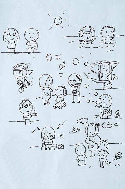 Illustration KiTa. Mit Filzstift gezeichnete Illustration einer Familie