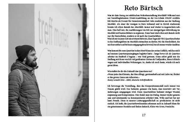 Doppelseite aus dem Murifeldbuch mit dem Beitrag von Reto