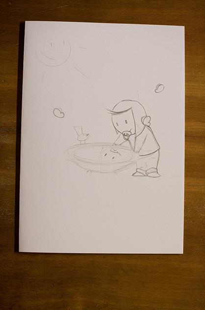 Eine Taufkarte für Mira – eine weitere Bleistiftskizze mit einer angepassten Version