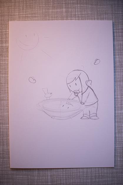 Eine Taufkarte für Mira – eine weitere Bleistiftskizze mit angepasster Frisur