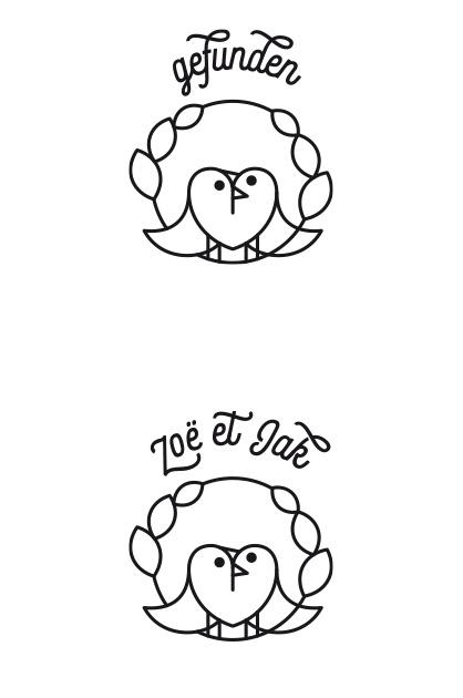 Illustration Hochzeitskarte. Zwei Varianten der Illustration mit einem Kranz, einem Herz, das aus zwei sich umarmenden Vögel gebildet wird. Eine Variante mit dem Zusatz «gefunden» und die andere mit dem Namen des Hochzeitspaares