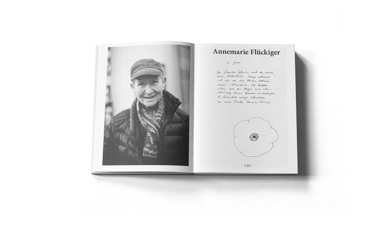 Grafik, Murifeldbuch – Innenseite mit einem Portrait der Berner Künstlerin Annemarie Flückiger