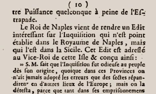 """Página del """"Mercure"""" (París, 1782) sobre la Inquisición en Sicilia."""