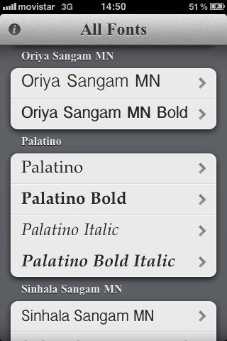 Typefaces App: tipografías por familia y estilos