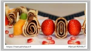 Recette Beautysané saine et gourmande : délicieux dessert brochette aux crêpes