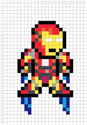 Iron Man Avengers Pixel art grille fond blanc