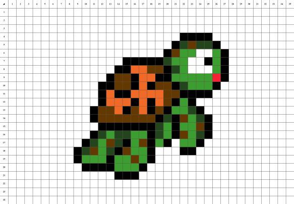 Tortue Nemo Pixel Art grille fond blanc