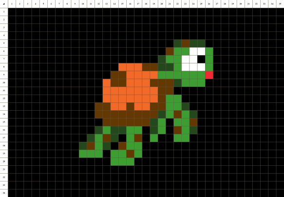 Tortue Nemo Pixel Art grille fond noir