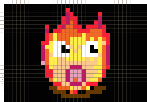 feu chaud pixel art grille fond noir