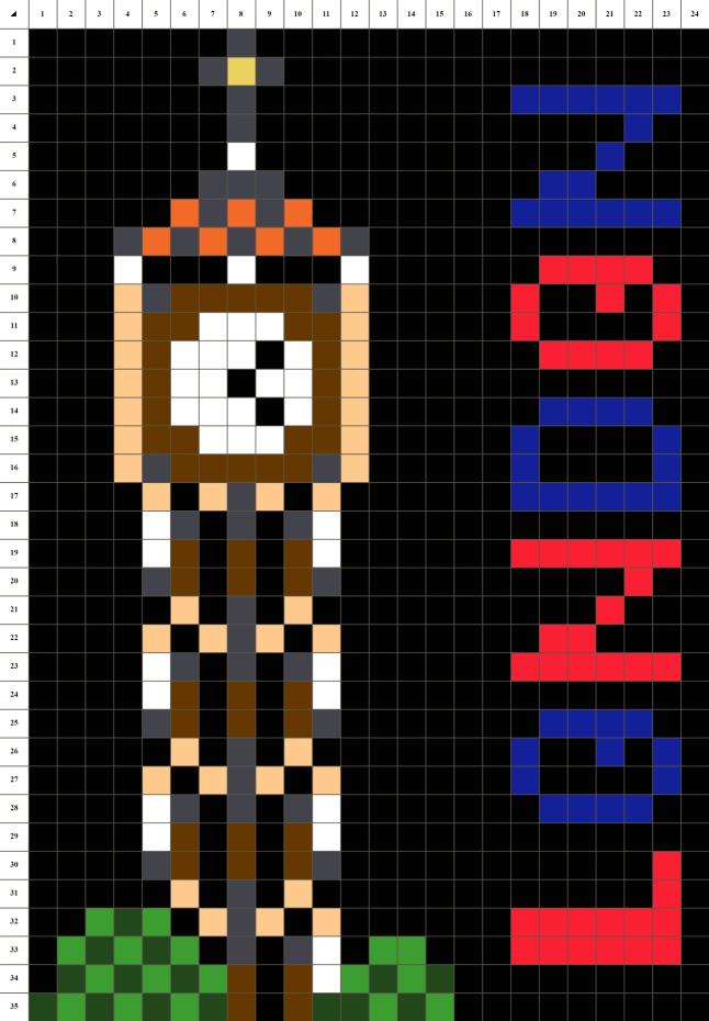 Big ben londres pixel art grille fond noir