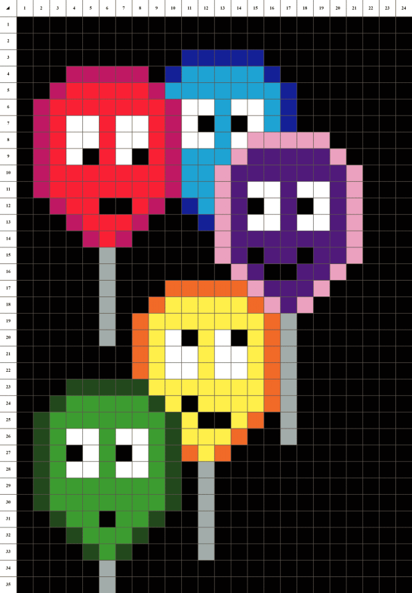 Ballons pixel art mosaique grille fond noir