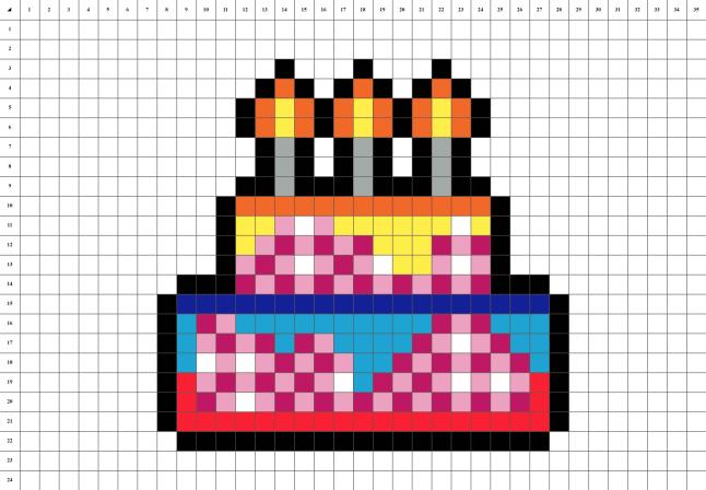 Gateau d'anniversaire pixel art mosaique grille fond blanc