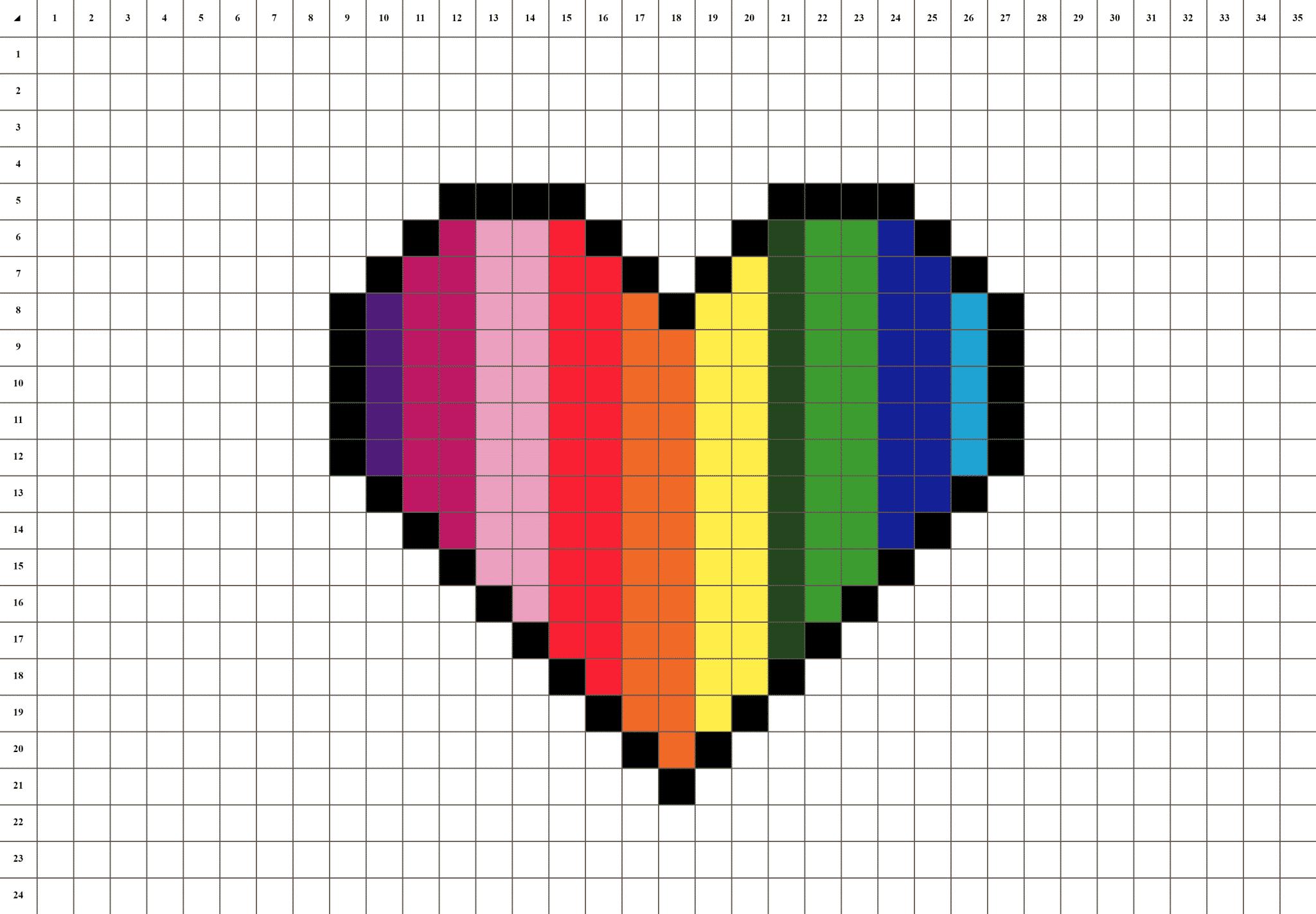 Coeur Arc En Ciel Pixel Art