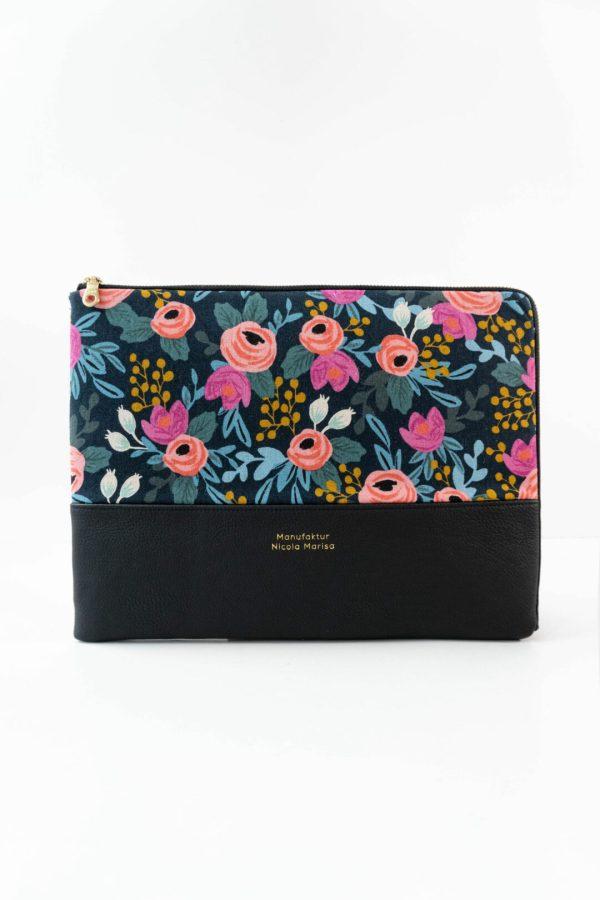 nachhaltige laptophuelle night roses handmade in germany 13 zoll 14 zoll 15 zoll manufaktur nicola marisa Laptophülle NIGHT ROSES