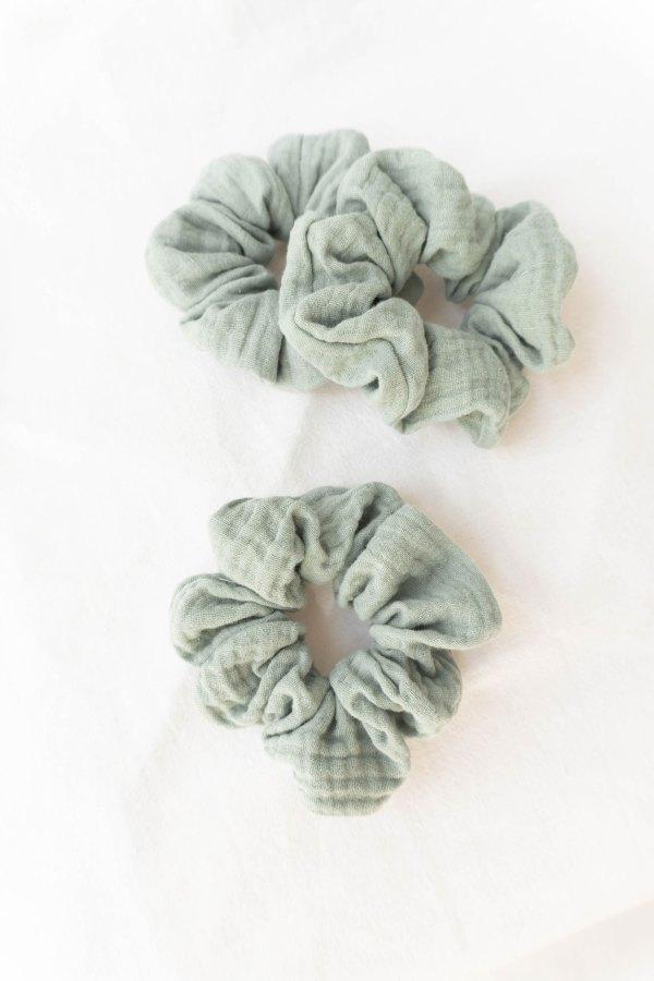 nachhaltiges Musselin-Scrunchie Biobaumwolle made in Germany SAGE Salbei