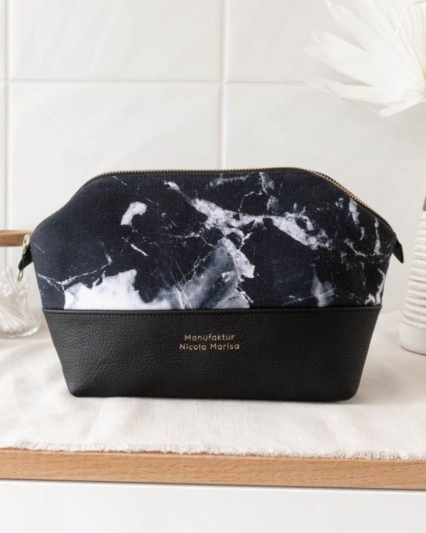 MARBLE DARK nachhaltige Kosmetiktasche Made in Germany Handmade vegan leather