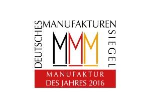 Manufaktur des Jahres 2016 - Siegel des Verbandes Deutsche Manufakturen e. V., Bremen (Entwurf und Reinzeichnung: Zembski & Co.)