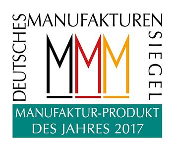 Siegel Manufaktur-Produkt des Jahres 2017 (Grafik: Deutsche Manufakturen e. V. / Peter Sieber)