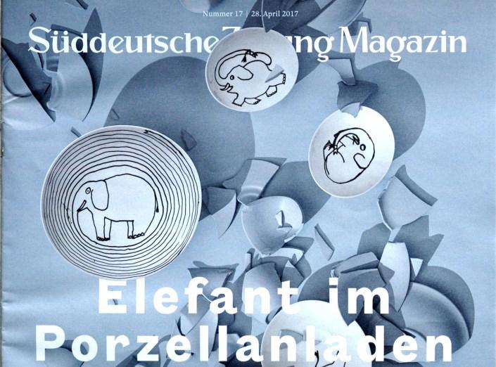 Manufakturen-Blog: Ausschnitt aus der Titelseite des SZ-Magazins vom 28. April 2017 mit Jean Julliens Dibbern-Porzellan (Foto: Wigmar Bressel)