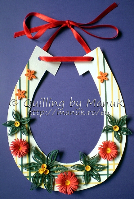 Lucky Horseshoe Decorated with Quilled Flowers